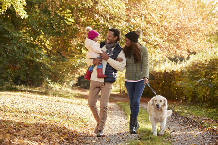 oxfordshire: Family With Daughter And Dog Enjoy Autumn Countryside Walk