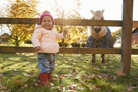 Young Girl On Autumn Walk Looking At Pony In Field