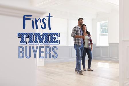 Los primeros compradores de tiempo se juntan en su nuevo hogar Foto de archivo - 78079722