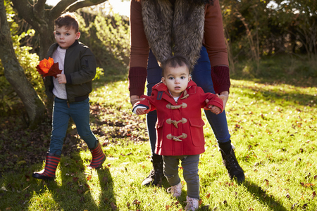 Mother And Children Playing With Autumn Leaves in Garden Stock Photo