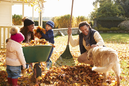 Kinderen die ouders helpen om herfstbladeren in de tuin te verzamelen