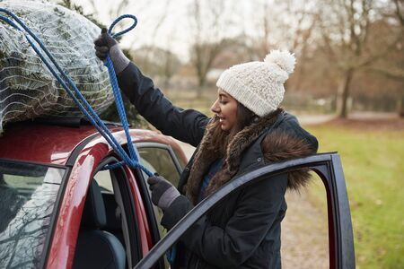 Young woman tying Christmas tree to roof of a car, side view Stock Photo