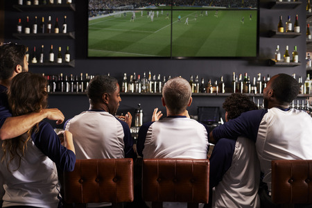 Rear View Of Friends Watching Game In Sports Bar Celebrating Stockfoto