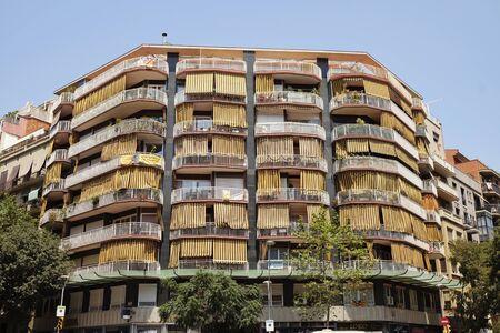 neighbours: BARCELONA - JULY 29, 2016: Mid-twentieth century apartment block on a corner in the Gothic Quarter