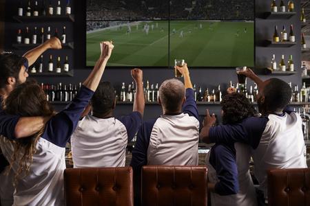 Achteraanzicht van vrienden die het spel zien in de sportbalk vieren