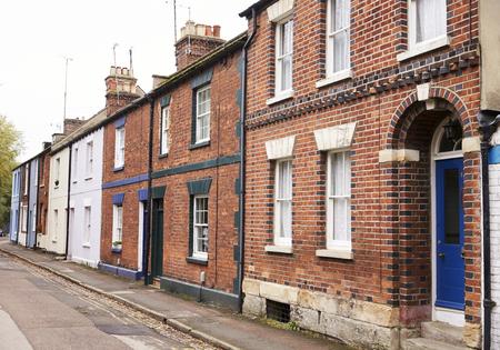 Buitenkant van Victoriaanse rijtjeshuizen in Oxford
