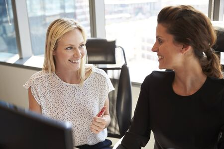 Businesswomen Working At Office Desk On Computer Together