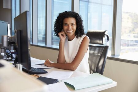Portrait Of Businesswoman At Office Desk Using Computer Stock Photo