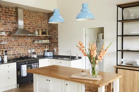 オープン プランのキッチン、ラウンジとダイニング エリアのインテリア 写真素材