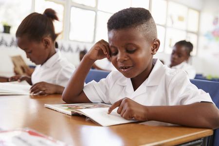 Escuela primaria leyendo un libro en su escritorio en clase Foto de archivo - 85280305