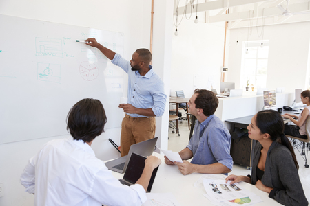 Young black man using a whiteboard in an office meeting
