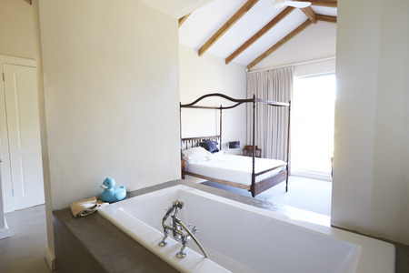 Interior Of Contemporary Open Plan Bedroom With Bath Banco de Imagens - 85280746