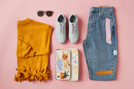 Flat Lay Shot Of Female Autumn Clothing And Accessories 스톡 콘텐츠