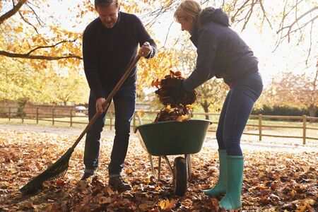 Mature Couple Raking Autumn Leaves in Garden