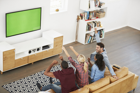 Group Of Young Friends Watching Sports On Television And Cheering Banco de Imagens