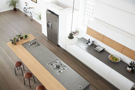 Overhead View Of Modern Kitchen With Island Banque d'images