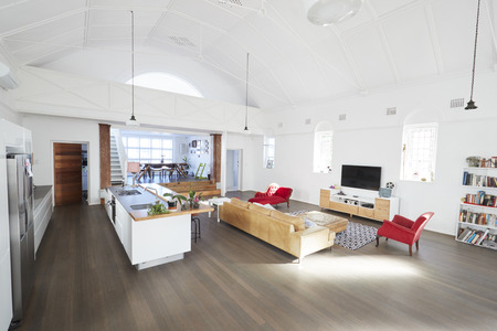 Home Interior With Open Plan Lounge And Dining Area