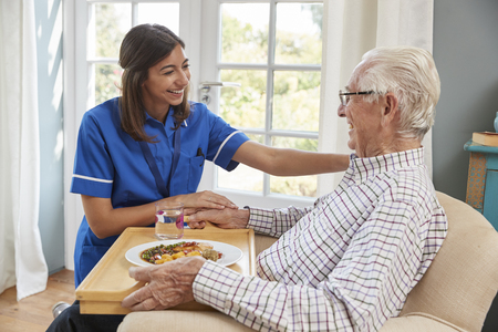 Nurse serving dinner to a senior man in an armchair at home Stock Photo