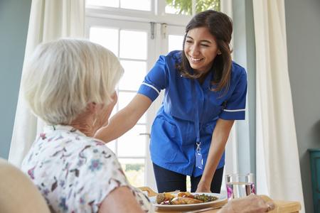 수석 여자 집에서 저녁 식사를 제공하는 간호사