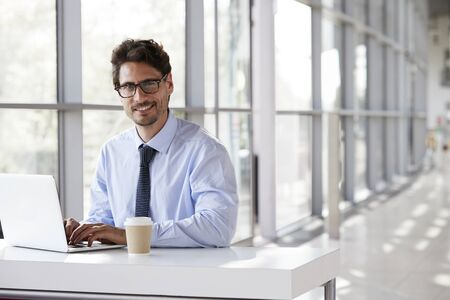 Young businessman smiling while working on his laptop Imagens