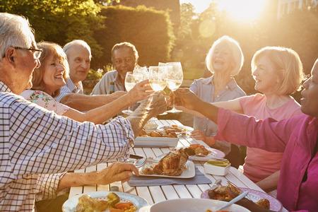 Groep Hogere Vrienden die een Toost maken bij de Openluchtpartij van het Diner