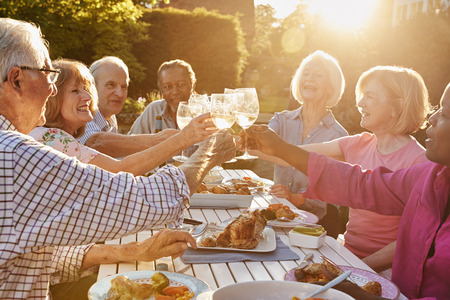 Group Of Senior Friends Making A Toast At Outdoor Dinner Party Imagens