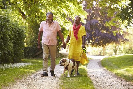 Ältere Paare, die mit Haustier-Bulldogge in der Landschaft gehen