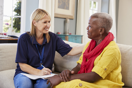 Female Support Worker Visits Senior Woman At Home Stok Fotoğraf - 90330062