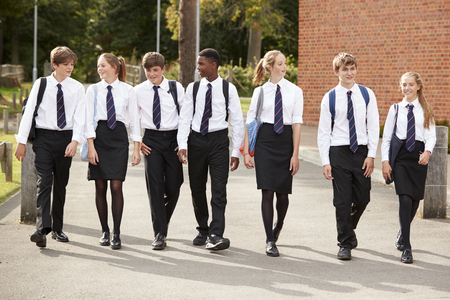 Group Of Teenage Students In Uniform Outside School Buildings Banque d'images
