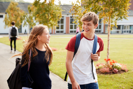Teenage Students Walking Around College Campus Together