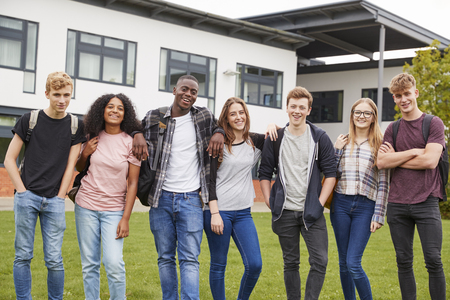 Portrait Of Student Group Outside College Buildings Stock Photo
