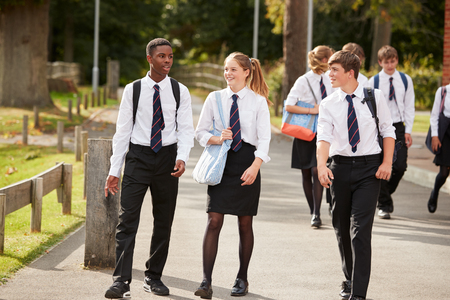 Group Of Teenage Students In Uniform Outside School Buildings Stock Photo - 91940633