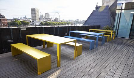 Roof terrace break area at a London business premises Stock Photo
