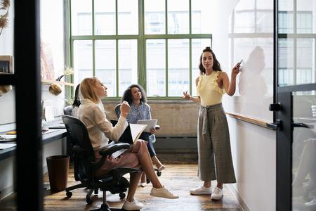 Vrouw die aan whiteboard in een vergadering met vrouwelijk team kijkt