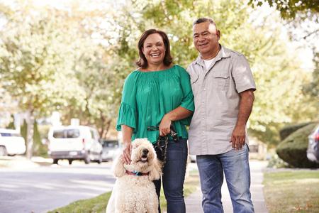 郊外の通りに沿って犬を歩くシニアカップルの肖像
