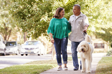Senior Couple Walking Dog Along Suburban Street Stockfoto