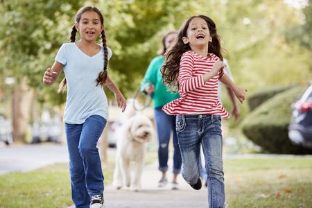 할머니와 손녀 교외 거리를 따라 개를 산책 스톡 콘텐츠 - 94401255