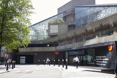 LONDON - MAY, 2017: Entrance to the Barbican Centre, Silk Street, London EC2 Editorial