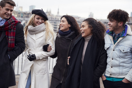 Group Of Young Friends Visiting London In Winter