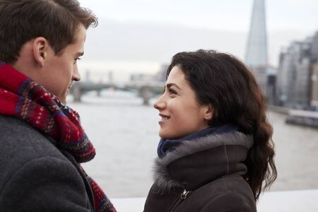 Young Tourist Couple Visiting London In Winter Stock Photo