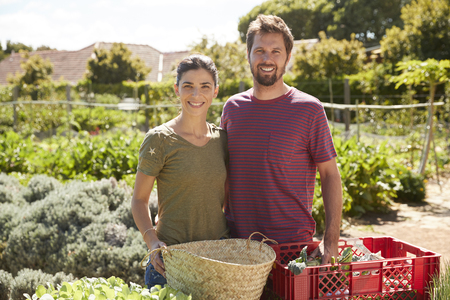 Portrait Of Couple Working On Community Allotment Together Stockfoto