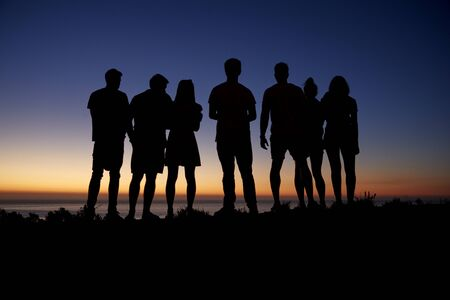 Group of young adults admiring sunset by the seaside