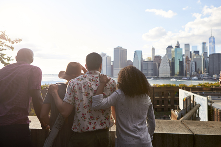 Rear View Of Tourists Looking At Manhattan Skyline Stok Fotoğraf - 96251004