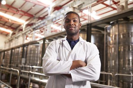 Portrait of a young black male technician at a wine factory Reklamní fotografie