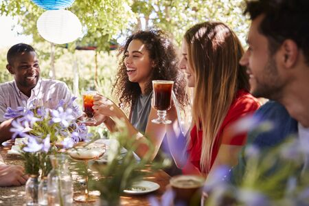 Young adult friends socialising at a table in a garden Stock Photo