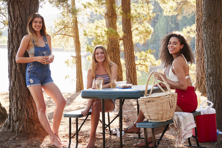 Three female friends hanging out by a lake smiling to camera Stock Photo