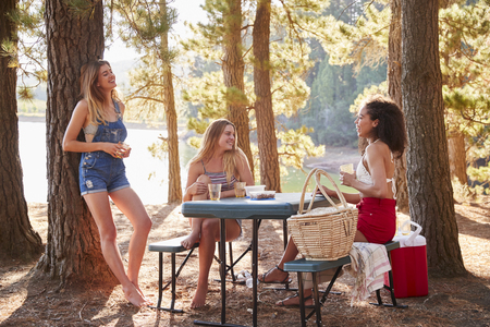 Three female friends hanging out at a picnic table by a lake