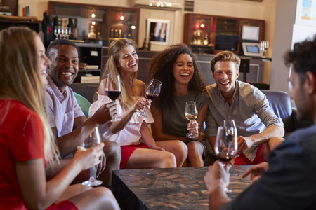 Six young adult friends drinking wine at a bar