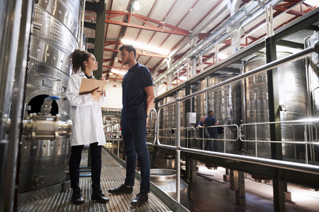 A male and a female technician talking at a wine factory Stock Photo
