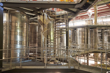 Spiral stairs in a modern winemaking facility interior